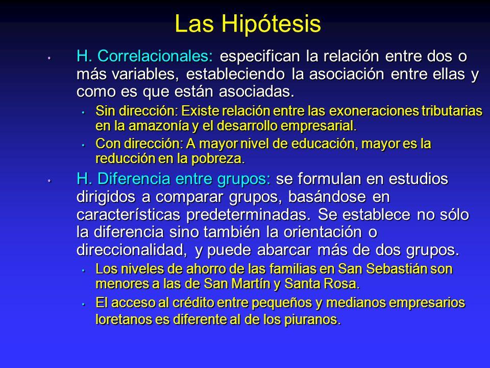 H. Correlacionales: especifican la relación entre dos o más variables, estableciendo la asociación entre ellas y como es que están asociadas. H. Corre
