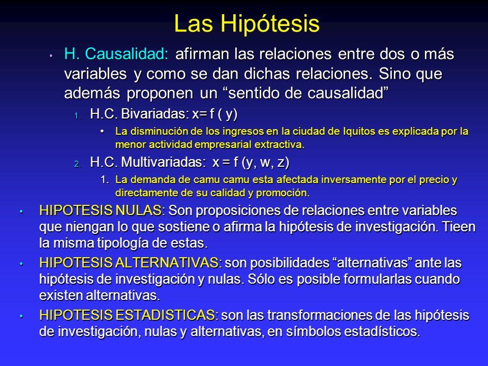 H. Causalidad: afirman las relaciones entre dos o más variables y como se dan dichas relaciones. Sino que además proponen un sentido de causalidad H.