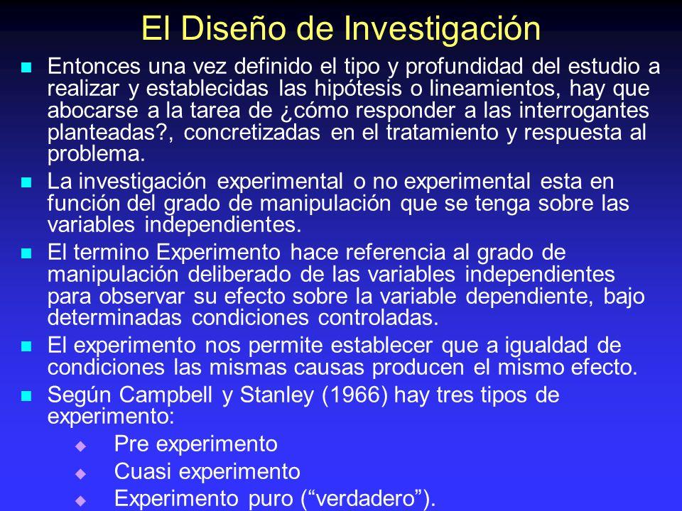 El Diseño de Investigación Entonces una vez definido el tipo y profundidad del estudio a realizar y establecidas las hipótesis o lineamientos, hay que
