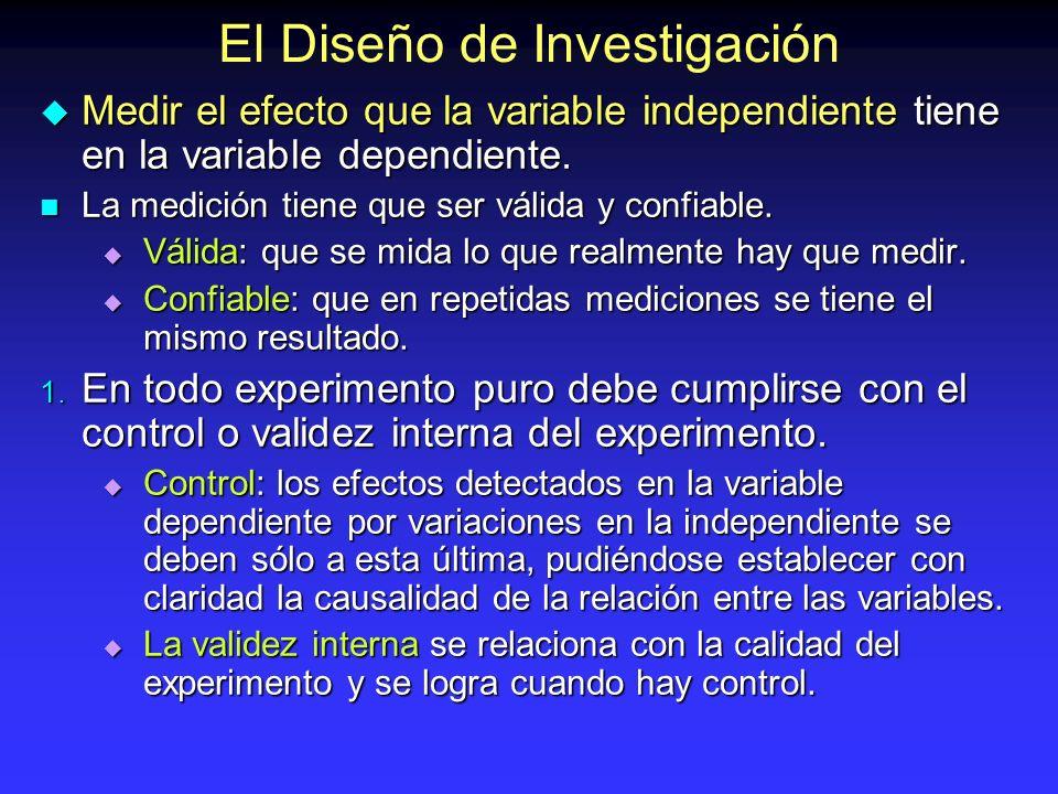 El Diseño de Investigación Medir el efecto que la variable independiente tiene en la variable dependiente. Medir el efecto que la variable independien