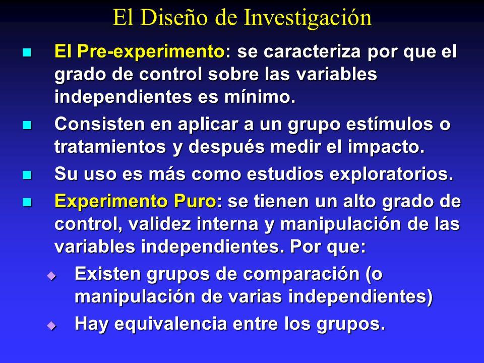 El Diseño de Investigación El Pre-experimento: se caracteriza por que el grado de control sobre las variables independientes es mínimo. El Pre-experim