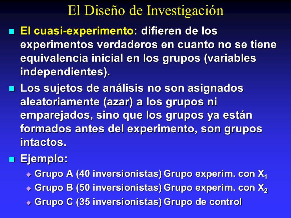 El Diseño de Investigación El cuasi-experimento: difieren de los experimentos verdaderos en cuanto no se tiene equivalencia inicial en los grupos (var
