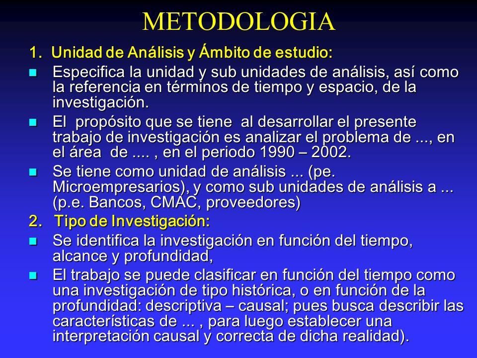 METODOLOGIA 1. Unidad de Análisis y Ámbito de estudio: Especifica la unidad y sub unidades de análisis, así como la referencia en términos de tiempo y