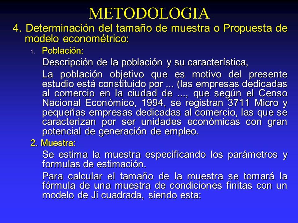 METODOLOGIA 4. Determinación del tamaño de muestra o Propuesta de modelo econométrico: 1. Población: Descripción de la población y su característica,