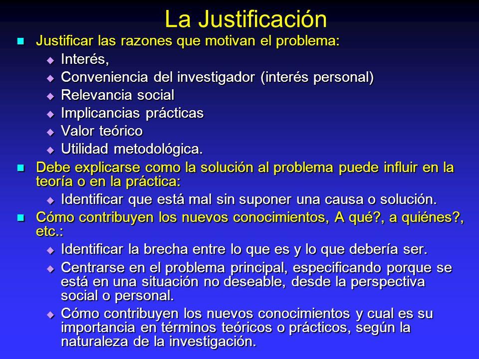 Justificar las razones que motivan el problema: Justificar las razones que motivan el problema: Interés, Interés, Conveniencia del investigador (inter