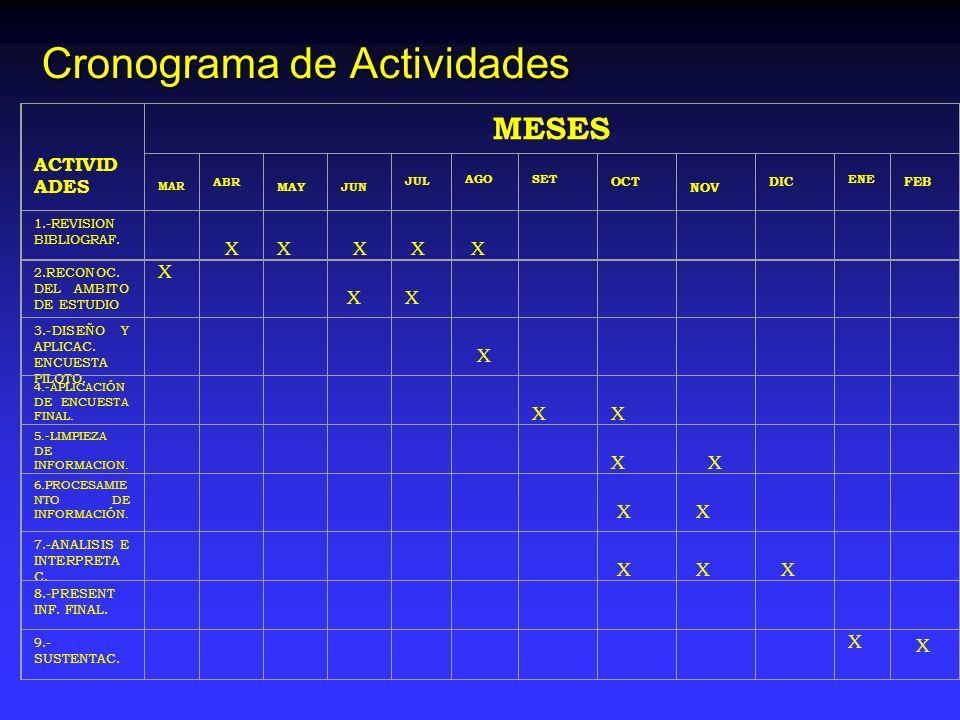 Cronograma de Actividades ACTIVID ADES MESES MAR ABR MAY JUN JUL AGO SET OCT NOV DIC ENE FEB 1.-REVISION BIBLIOGRAF. X X X X X X 2.RECONOC. DEL AMBITO