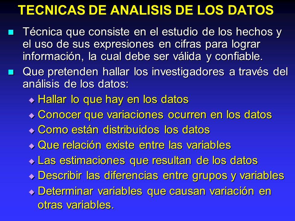 TECNICAS DE ANALISIS DE LOS DATOS Técnica que consiste en el estudio de los hechos y el uso de sus expresiones en cifras para lograr información, la c