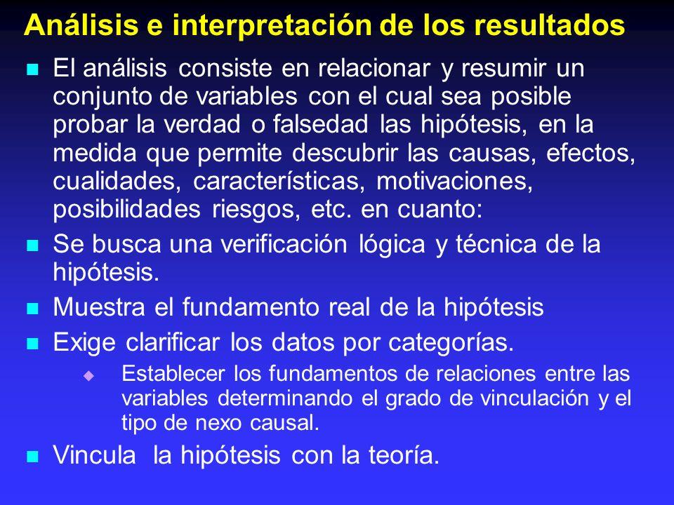 Análisis e interpretación de los resultados El análisis consiste en relacionar y resumir un conjunto de variables con el cual sea posible probar la ve