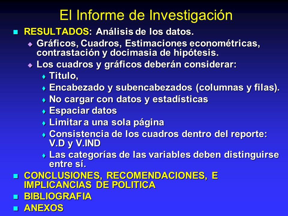 El Informe de Investigación RESULTADOS: Análisis de los datos. RESULTADOS: Análisis de los datos. Gráficos, Cuadros, Estimaciones econométricas, contr