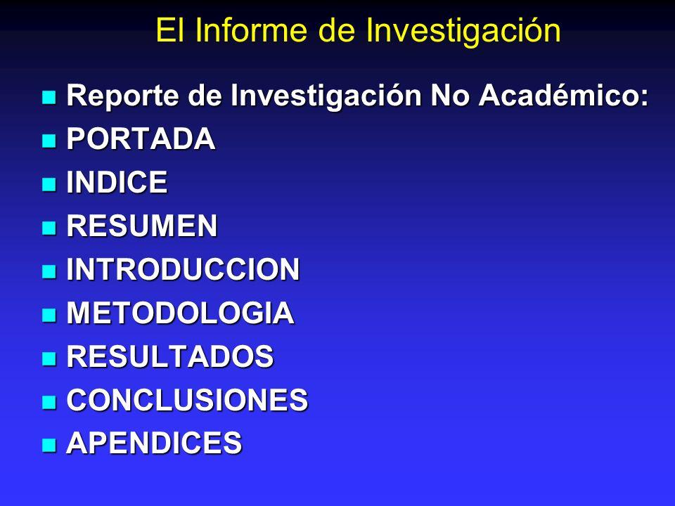 El Informe de Investigación Reporte de Investigación No Académico: Reporte de Investigación No Académico: PORTADA PORTADA INDICE INDICE RESUMEN RESUME