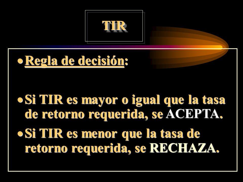 Tasa Interna de Retorno TIR: Tasa de retorno que iguala el VP de los flujos de caja con la inversión inicial.