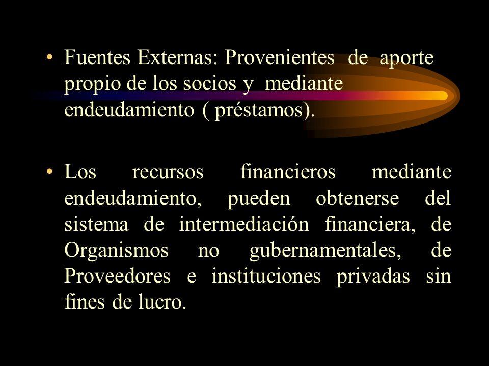 A. Fuentes Internas: Se obtienen cuando el proyecto esta en operación,los recursos provienen de utilidades no distribuidas,fondo de reposición del act