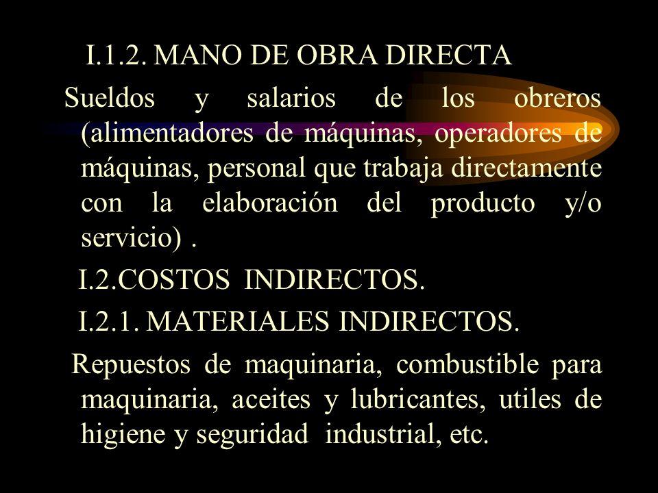COSTOS DE PRODUCCIÓN Comprende los siguientes rubros : I.1. COSTOS DIRECTOS. I.1.1. MATERIAL DIRECTO Materia prima directa Accesorios del producto ( e