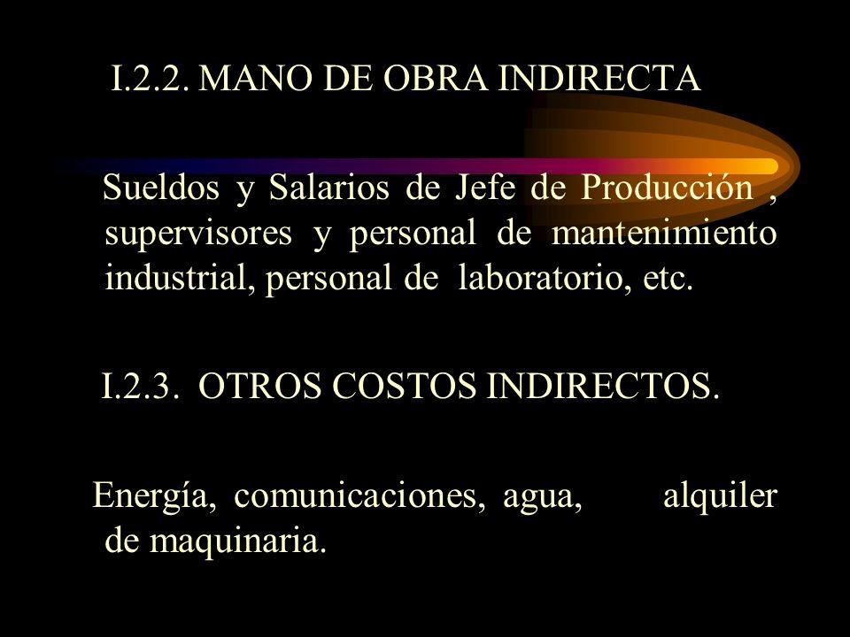 I.1.2. MANO DE OBRA DIRECTA Sueldos y salarios de los obreros (alimentadores de máquinas, operadores de máquinas, personal que trabaja directamente co