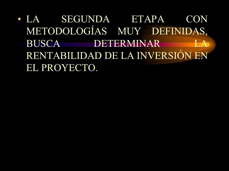 EL ESTUDIO DE PROYECTOS, DISTINGUE DOS GRANDES ETAPAS: LA DE FORMULACIÓN Y PREPARACIÓN Y LA DE EVALUACION. LA PRIMERA TIENE POR OBJETO DEFINIR TODAS L