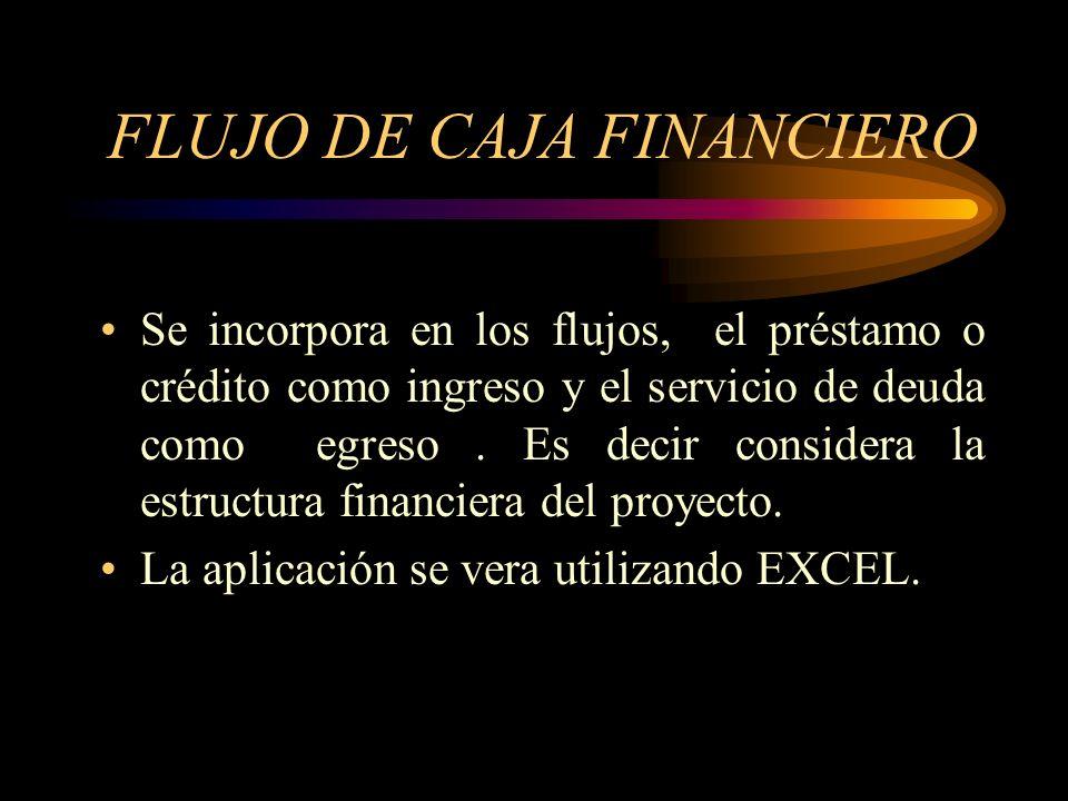 FLUJO DE CAJA ECONÓMICO Se considera los flujos de ingresos y los flujos de egresos, desde el año o ( cero), sin incluir los flujos de financiación. A