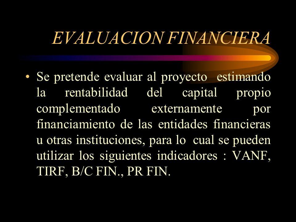 EVALUACIÓN ECONOMICA Se evalúa el proyecto sin considerar cómo se obtengan y se paguen los recursos que se requieren para la implementación y puesta e