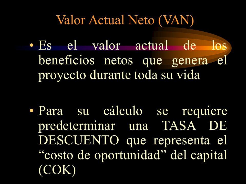 1) Valor Actual Neto (VAN) 2) Tasa Interna de Retorno (TIR) 3) COEFICIENTE B/C Cada uno de estos criterios: Tiene en cuenta todos los flujos de caja,