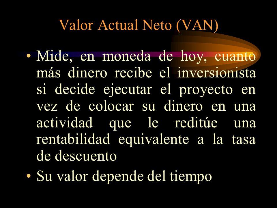 Valor Actual Neto (VAN) Es el valor actual de los beneficios netos que genera el proyecto durante toda su vida Para su cálculo se requiere predetermin