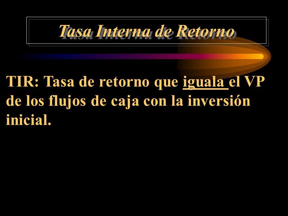 Tasa Interna de Retorno VAN = - A FCA t FCA t (1 + k) t nt=1 n t=1 TIR: = A FCA t (1 + TIR) t