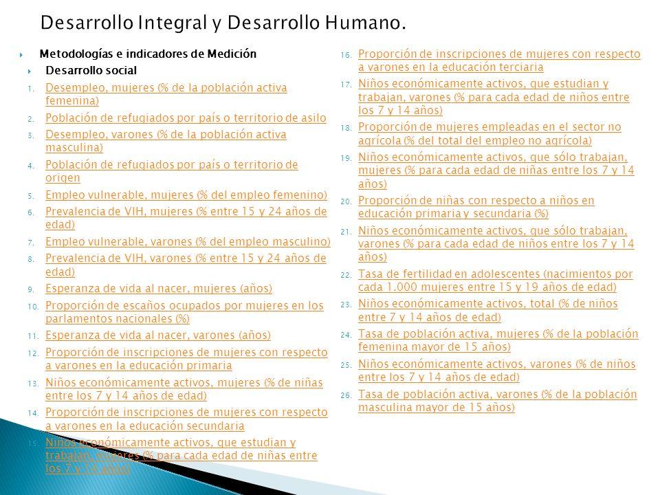 Metodologías e indicadores de Medición Desarrollo social 1.