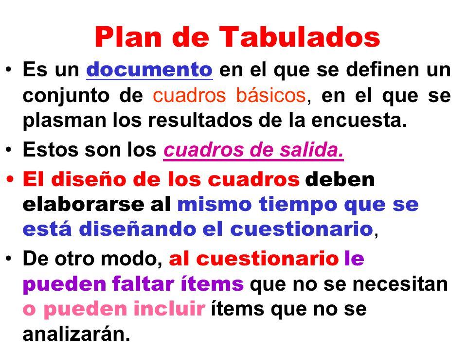 Plan de Tabulados Es un documento en el que se definen un conjunto de cuadros básicos, en el que se plasman los resultados de la encuesta. Estos son l