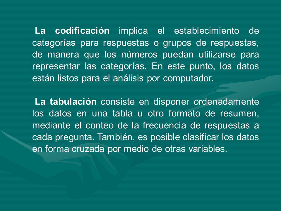 La codificación implica el establecimiento de categorías para respuestas o grupos de respuestas, de manera que los números puedan utilizarse para repr