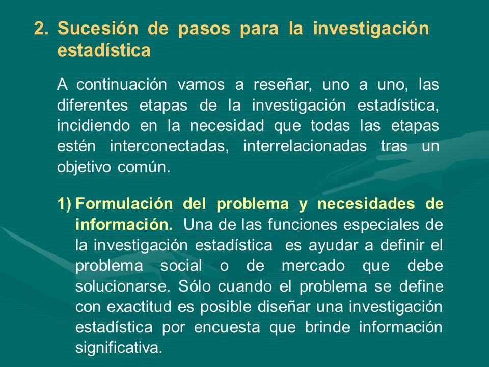El proceso de investigación estadística es establecer cuál es la necesidad de información y para que se requiere dicha información.