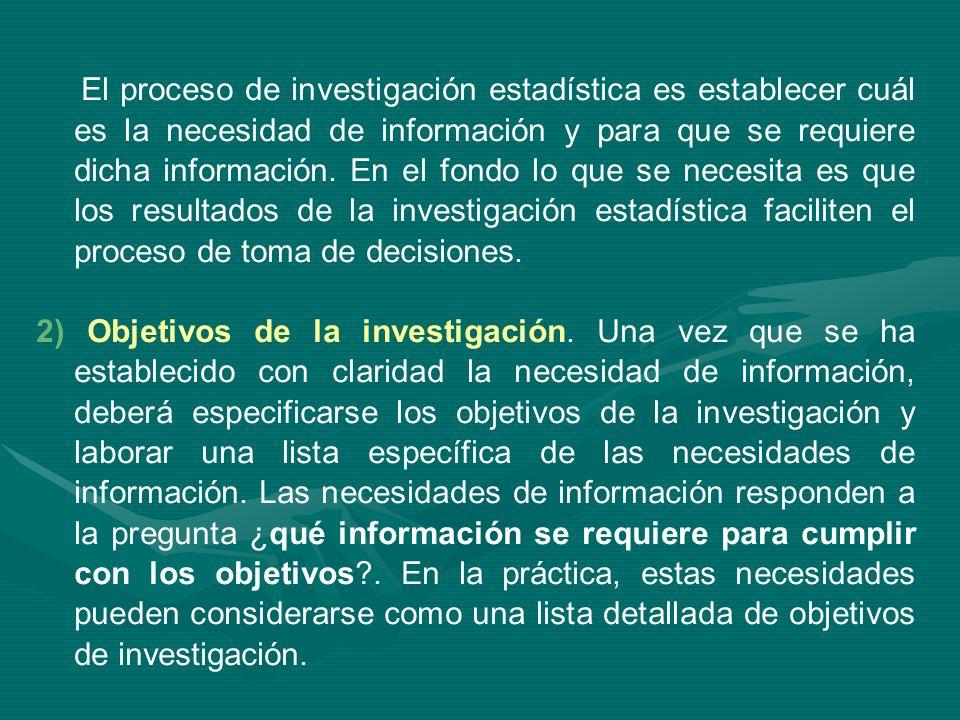 El proceso de investigación estadística es establecer cuál es la necesidad de información y para que se requiere dicha información. En el fondo lo que