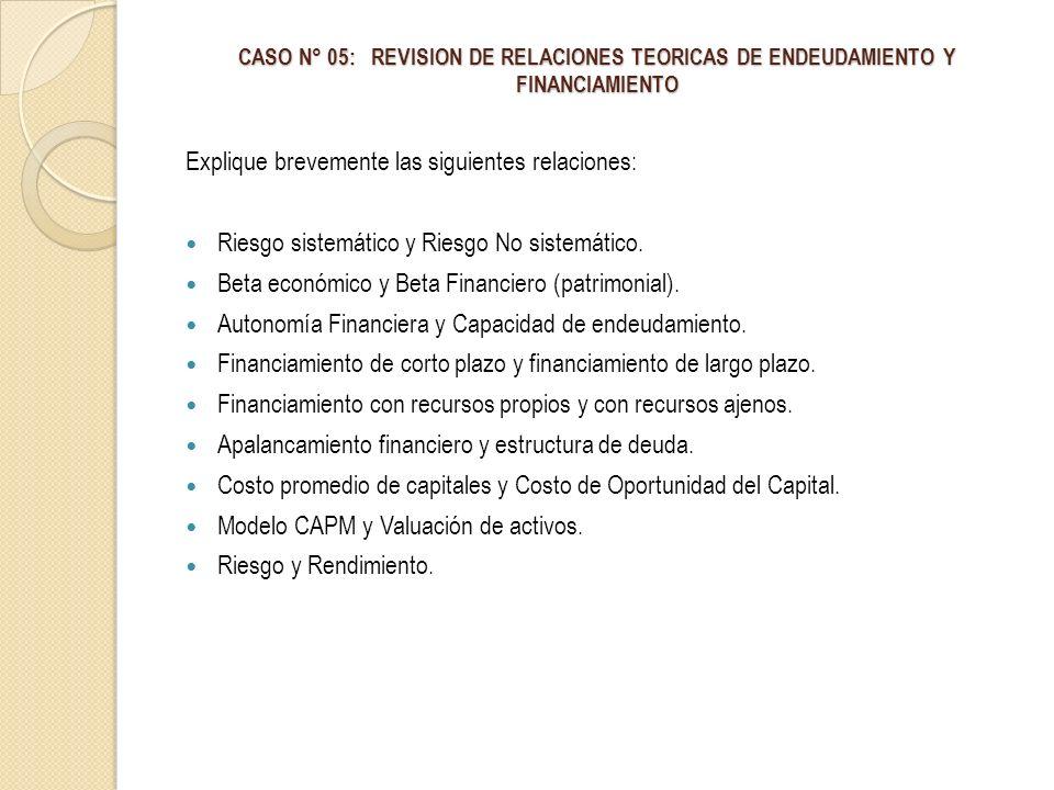 CASO N° 05: REVISION DE RELACIONES TEORICAS DE ENDEUDAMIENTO Y FINANCIAMIENTO Explique brevemente las siguientes relaciones: Riesgo sistemático y Ries