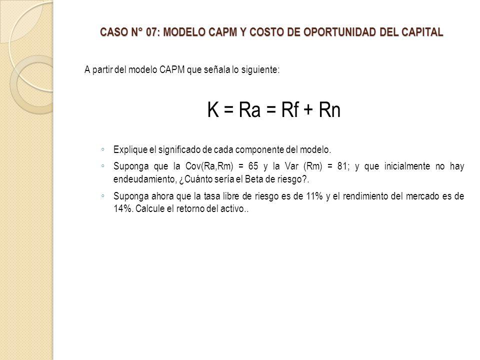 CASO N° 07: MODELO CAPM Y COSTO DE OPORTUNIDAD DEL CAPITAL A partir del modelo CAPM que señala lo siguiente: K = Ra = Rf + Rn Explique el significado