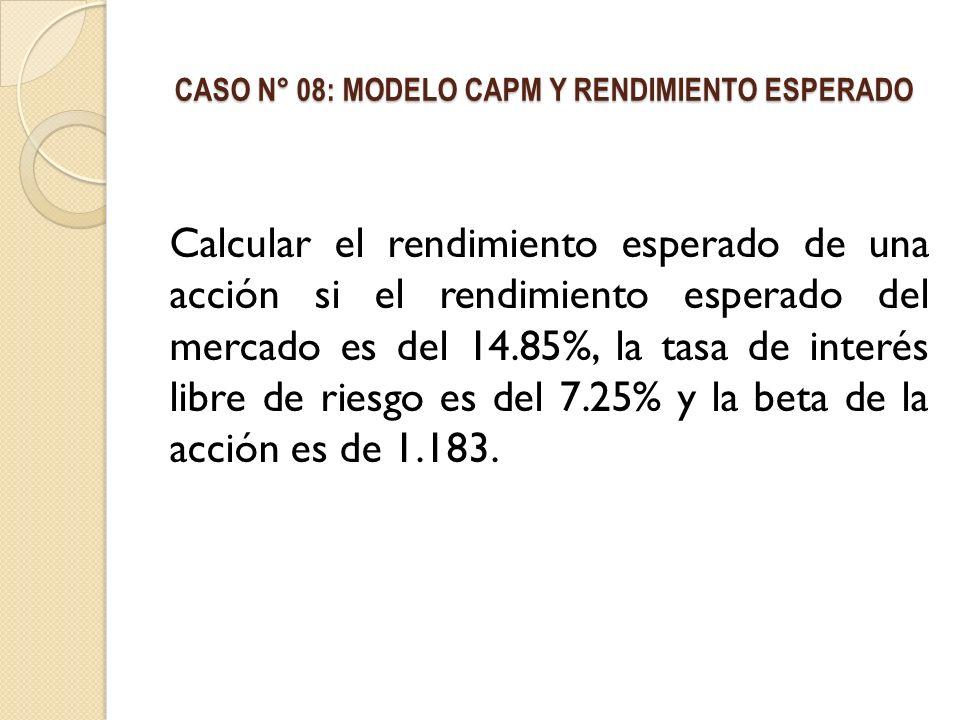 CASO N° 08: MODELO CAPM Y RENDIMIENTO ESPERADO Calcular el rendimiento esperado de una acción si el rendimiento esperado del mercado es del 14.85%, la