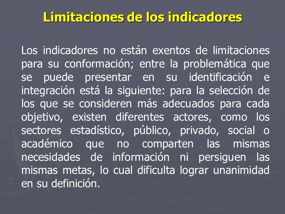 Limitaciones de los indicadores Los indicadores no están exentos de limitaciones para su conformación; entre la problemática que se puede presentar en