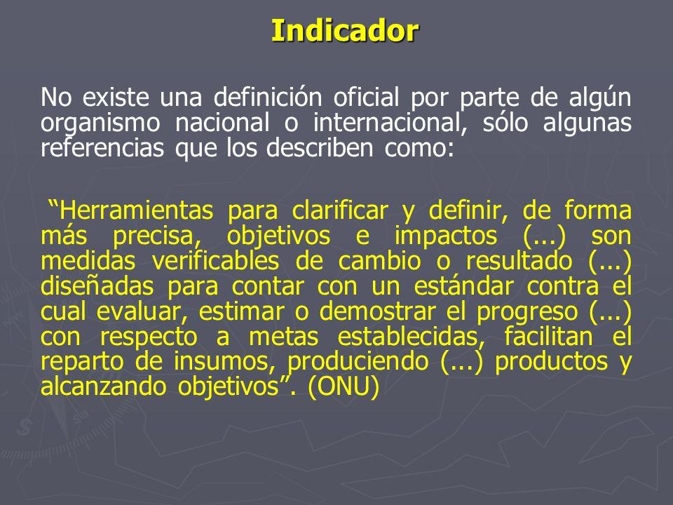Características de los indicadores Estar inscrito en un marco teórico o conceptual, Ser específicos, Ser explícitos, Estar disponibles Deben ser relevantes y oportunos, Los indicadores no son exclusivos de una acción especifica Ser claros de fácil comprensión, Deben servir para las comparaciones,
