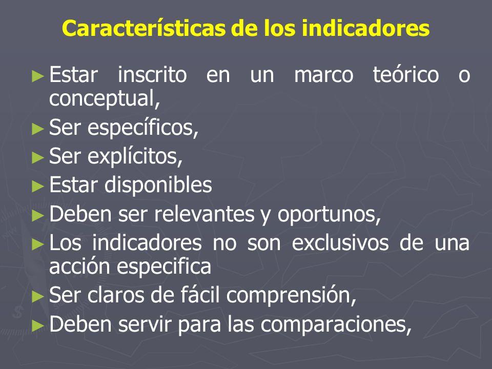 Características de los indicadores Estar inscrito en un marco teórico o conceptual, Ser específicos, Ser explícitos, Estar disponibles Deben ser relev