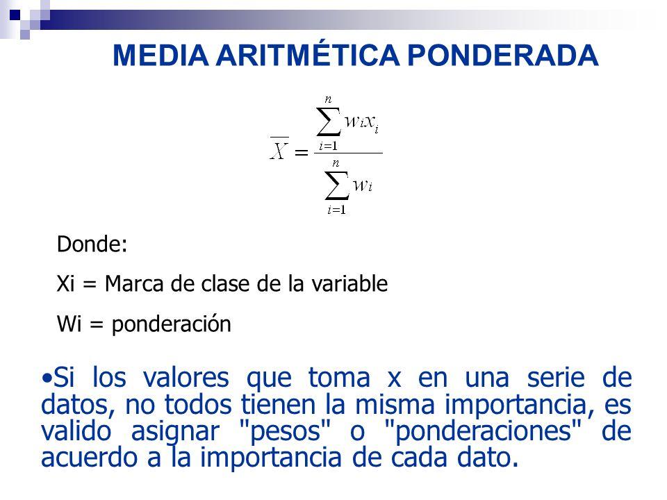 MEDIA ARITMÉTICA PONDERADA Si los valores que toma x en una serie de datos, no todos tienen la misma importancia, es valido asignar