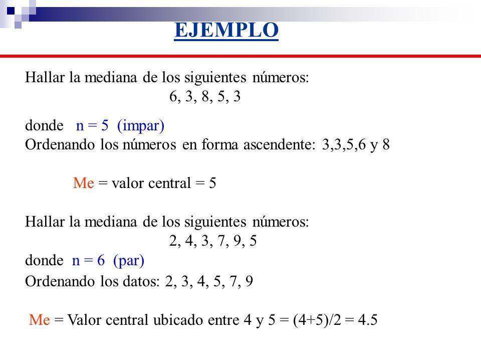 EJEMPLO Hallar la mediana de los siguientes números: 6, 3, 8, 5, 3 donde n = 5 (impar) Ordenando los números en forma ascendente: 3,3,5,6 y 8 Me = val