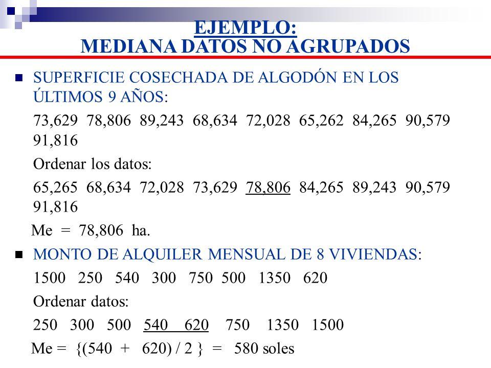 EJEMPLO: MEDIANA DATOS NO AGRUPADOS SUPERFICIE COSECHADA DE ALGODÓN EN LOS ÚLTIMOS 9 AÑOS: 73,629 78,806 89,243 68,634 72,028 65,262 84,265 90,579 91,
