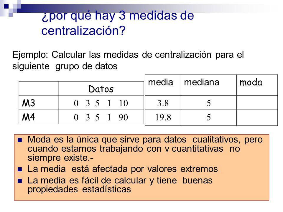 ¿por qué hay 3 medidas de centralización? Moda es la única que sirve para datos cualitativos, pero cuando estamos trabajando con v cuantitativas no si