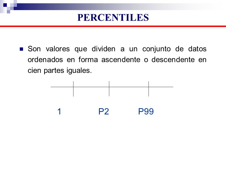 Son valores que dividen a un conjunto de datos ordenados en forma ascendente o descendente en cien partes iguales. 1 P2 P99 PERCENTILES