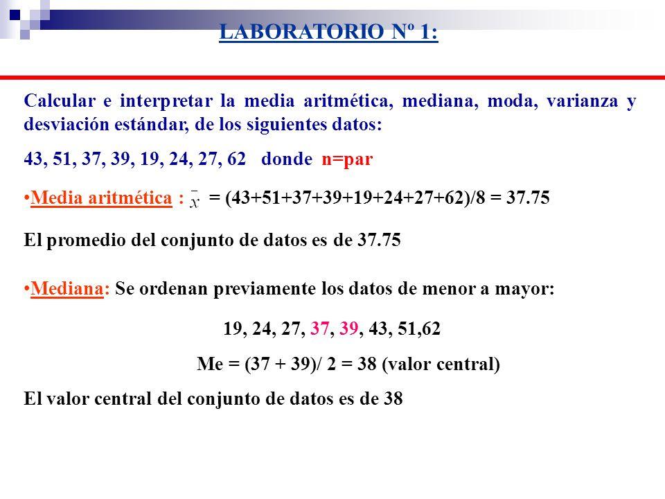 Calcular e interpretar la media aritmética, mediana, moda, varianza y desviación estándar, de los siguientes datos: 43, 51, 37, 39, 19, 24, 27, 62 don