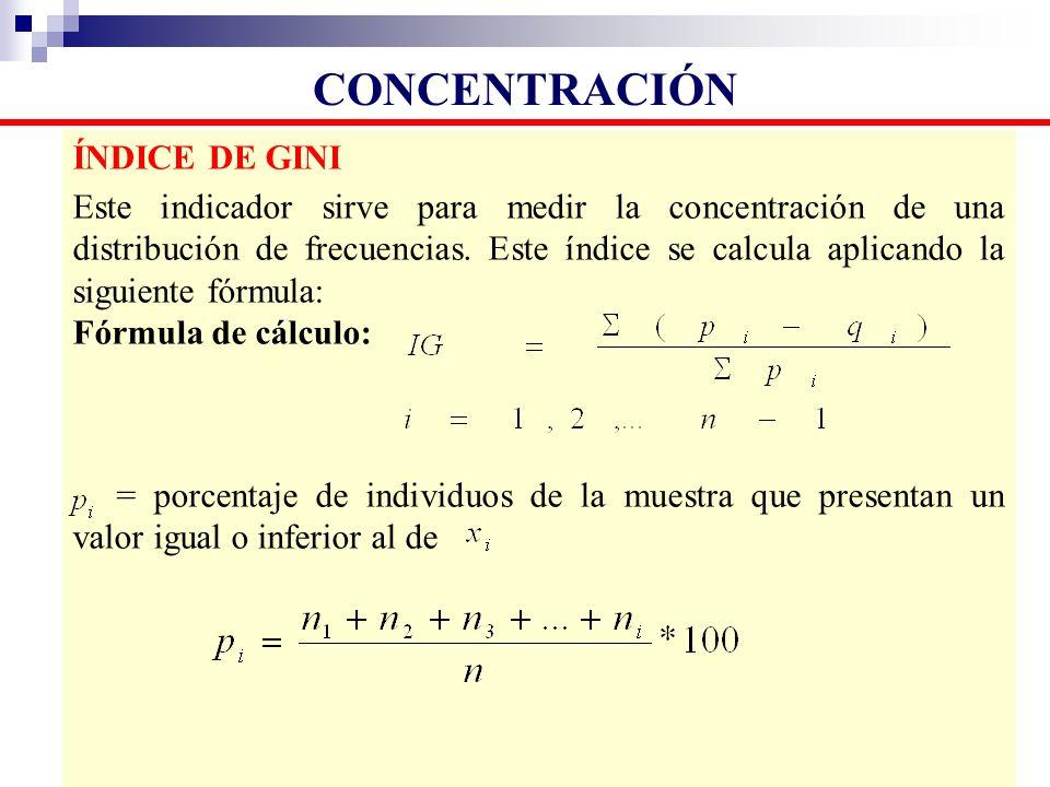 ÍNDICE DE GINI Este indicador sirve para medir la concentración de una distribución de frecuencias. Este índice se calcula aplicando la siguiente fórm