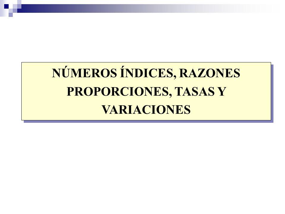 NÚMEROS ÍNDICES, RAZONES PROPORCIONES, TASAS Y VARIACIONES