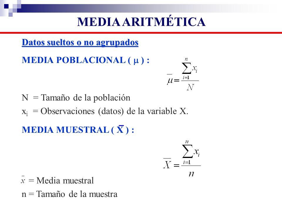 EJEMPLO Obtener la Media aritmética de los siguientes datos: 6, 3, 8, 5 y 3 MEDIA ARITMÉTICA: x i / n 6 + 3 + 8 + 5 + 3 25 = = = 5 5 5 luego: = 5