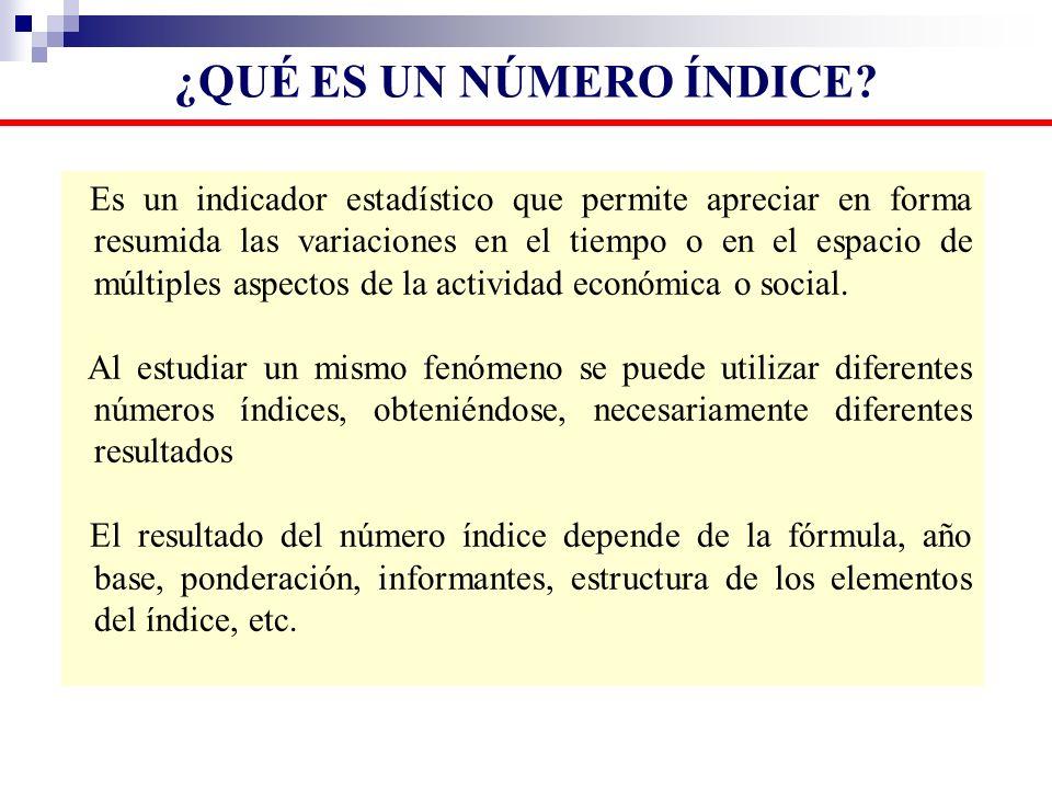 Es un indicador estadístico que permite apreciar en forma resumida las variaciones en el tiempo o en el espacio de múltiples aspectos de la actividad
