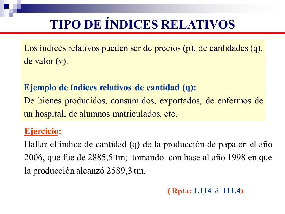 Los índices relativos pueden ser de precios (p), de cantidades (q), de valor (v). Ejemplo de índices relativos de cantidad (q): De bienes producidos,