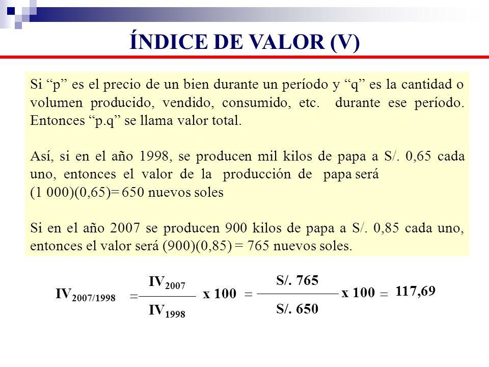 Si p es el precio de un bien durante un período y q es la cantidad o volumen producido, vendido, consumido, etc. durante ese período. Entonces p.q se