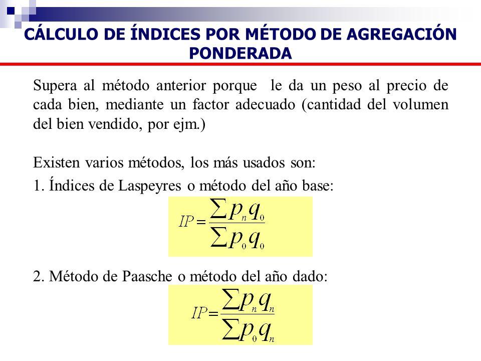 Supera al método anterior porque le da un peso al precio de cada bien, mediante un factor adecuado (cantidad del volumen del bien vendido, por ejm.) E