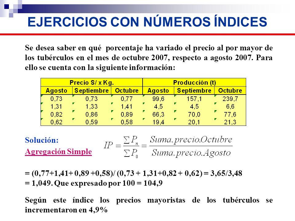 EJERCICIOS CON NÚMEROS ÍNDICES Se desea saber en qué porcentaje ha variado el precio al por mayor de los tubérculos en el mes de octubre 2007, respect