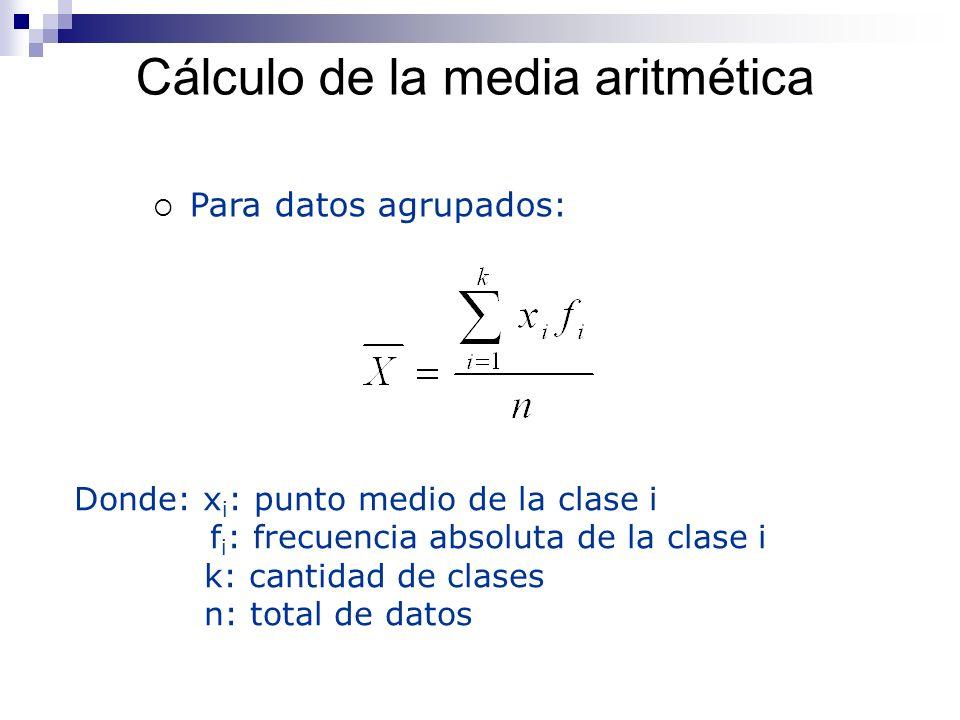 Cálculo de la media aritmética Para datos agrupados: Donde: x i : punto medio de la clase i f i : frecuencia absoluta de la clase i k: cantidad de cla